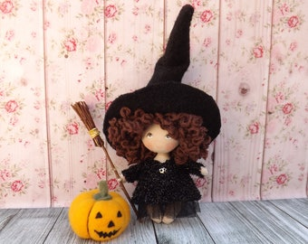 Miniature collectible rag pocket doll, tiny fabric art dollhouse doll, halloween decoration small witch with pumpkin