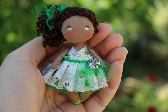 Remarkable Birthday T Fabric Brown Dollhouse Miniature Doll Small Cloth Art Doll Cute Mini Black Rag Doll Lucky Shamrock Clover Download Free Architecture Designs Viewormadebymaigaardcom