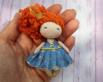 Cute mini OOAK fabric doll, tiny rag textile miniature pocket doll, sister gift, small cloth art dollhouse dolls, little doll