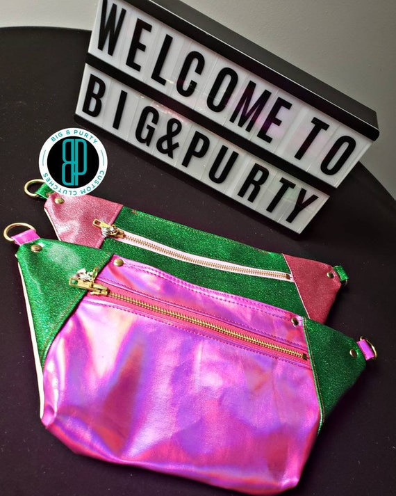 Glittery pink and green slim pack