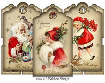 Printable Christmas Gift Tags - Digital Christmas Gift Tags - Vintage Christmas Cards - Digital Collage Sheet - Download - set of 10