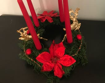 Reindeer Advent Centerpiece // Red and Gold Candle holder centerpiece