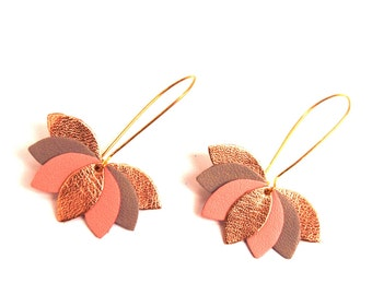Leather earring, pink, gray and gold leaf, flower leather graphic on Golden sleeper mount. wedding earrings