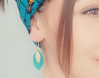 Bright green leather leaf earrings and gold MODEL AVA