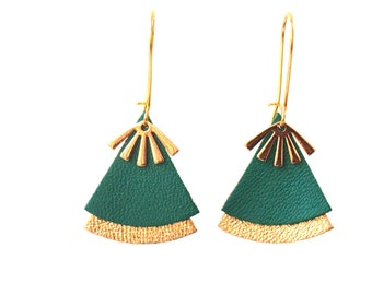 Bright green leather earrings and gold STELLA model