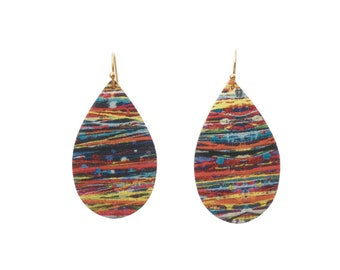 Earrings drops cork and multicolored leather