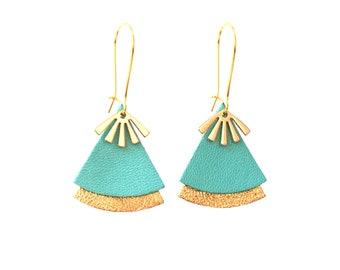 Celadon blue leather, turquoise and gold earrings, fan shape - ethnic earrings model STELLA
