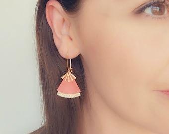 Coral leather, terracotta and gold earrings, fan shape - ethnic stellar earrings model STELLA