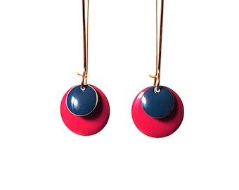 Enamelled sequin earrings red Garnet and blue on frame in Golden brass - long dangle earrings