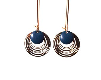 Sequins blue enamelled earrings teal and gold - long earrings design minimalist and sleek - round - by nat m