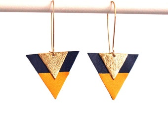 Triangle earrings geometric leather Navy Blue, mustard yellow and Gold - hook style earrings - gift for woman