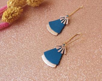 Boucles d'oreilles STELLA bleu canard et or