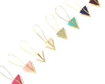 Triangle graphic leather and brass, large gold stud earring hooks - pink blue green turquoise Burgundy - women gift earrings