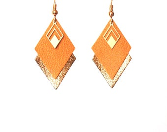 Vintage yellow and gold leather graphic earrings earrings diamonds - model LYA - Christmas gift for wife for her
