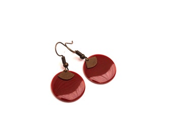 Enamelled sequin dark red, Garnet, round earrings and pendant bronze fan - Christmas gift for her