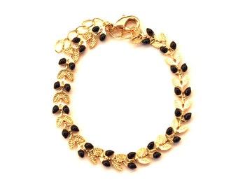 Bracelet épis émaillés noir et doré