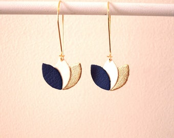 Royal Blue, white and gold, leather flower on Golden mount style sleeper leather earrings