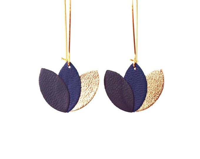 Featured listing image: Blue leather earrings Royal Blue and gold night - lotus flower graphic on long sleeper style Golden brass frame - gift
