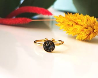 Gold-plated women's ring with Golden and black zebra-white and gilded leather-adjustable thin ring-gift for her