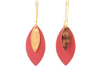 Coral leather leaf and gold AVA earrings