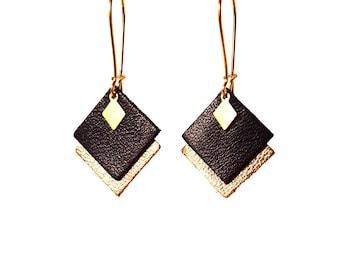 Boucles d'oreilles MIA en cuir noir et doré pampille losange en laiton, graphiques, crochets style dormeuses dorés