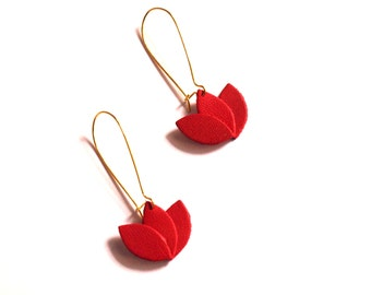 Red and gold leather earrings, leather flower on Golden Dormer frame