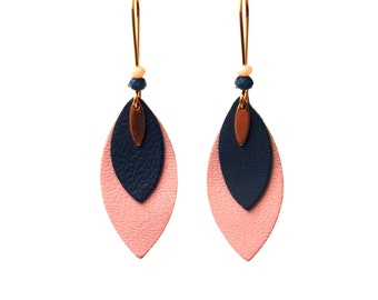 Sheets of leather and peacock blue and pastel pink beads - leather earrings - earrings pearls earrings