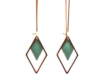 Sequin mint green enamel on each frame in Golden brass - earrings graphic geometric earrings