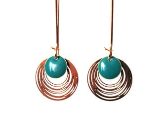 Sequins blue turquoise dark and gold - long dangle earrings design minimalist and simple earrings