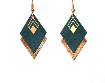 Green and gold leather leather diamond earrings emerald green and gold - graphic geometric earrings - style LYA - Christmas