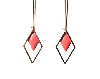 Sequin pink diamond with gold brass setting-long graphic geometric minimalist earrings enamel earrings
