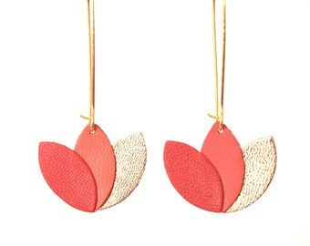 Lotus flower in bright red leather earrings terracotta and gold - style graphic design on long gold-plated brass setting sleeper
