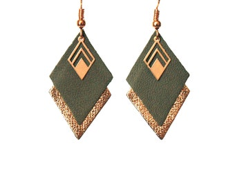 Earrings leather khaki green and gold, diamond leather khaki green and gold - graphic geometric earrings - style LYA - Christmas