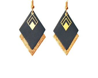 Earrings peacock blue and gold leather graphic earrings geometric diamond - model LYA - wife Christmas gift