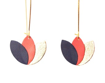 Blue leather earrings coral and gold night - lotus flower graphic on long sleeper style Golden brass frame - gift