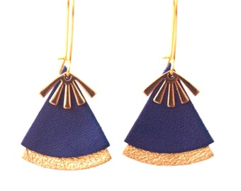 STELLA blue leather and gold earrings