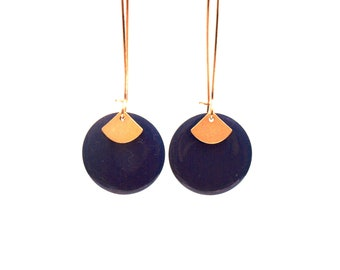 Blue and gold earrings dark blue enameled sequin round fan matte gold over brass gold - long earrings - women Christmas gift