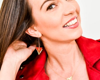 Leather red and gold leather and brass triangles earrings graphics, great hooks sleepers style