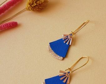 Boucles d'oreilles STELLA bleu lavande et doré