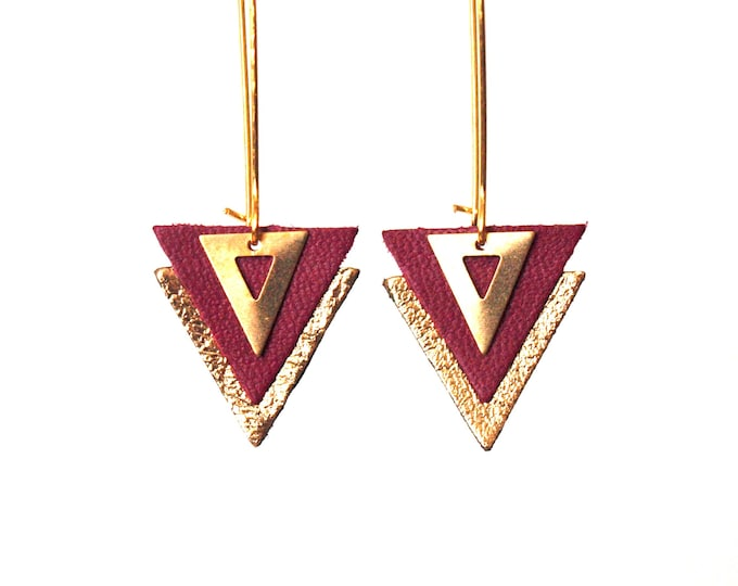Featured listing image: Plum leather triangles and brass lever - geometric graphic jewelry - model PIAMA earrings Burgundy and gold leather