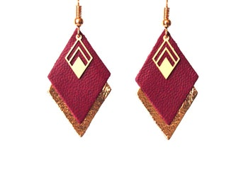 Earrings leather Burgundy, plum and gold, graphic earrings diamonds - model LYA - Christmas gift for wife for her