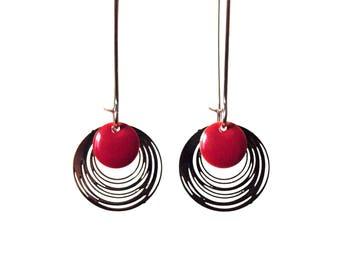 Enamel earrings red Garnet and silver - long earrings design minimalist and sleek - round - by nat m