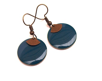 Duck blue earrings and round enamelled sequin bronze and fan pendant - women's Christmas gift