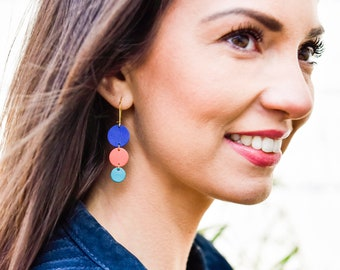 Boucles d'oreilles cuir ÉLÉA - Bleu roi, corail et bleu turquoise - printemps été