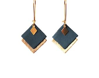 Boucles d'oreilles MIA en cuir bleu canard et doré pampille losange en laiton, graphiques, crochets style dormeuses dorés