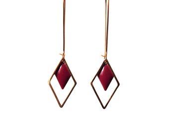 Earrings geometric diamond garnet red enamel on brass gold - long dangle earrings minimalist graphic
