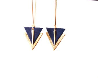 Royal Blue and gold, graphic leather large hooks sleepers style earrings