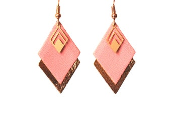 Earrings pink leather, pink and gold old, graphic earrings diamonds - model LYA - Christmas gift for wife for her