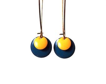 Sequin blue and yellow enamel on bronze brass setting-pop earrings earrings
