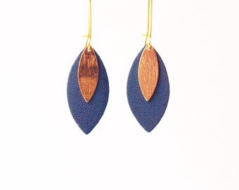Duck blue leather leaf earrings and gold MODEL AVA